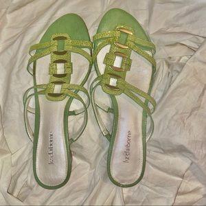 Liz Claiborne croc style material sandals *defect